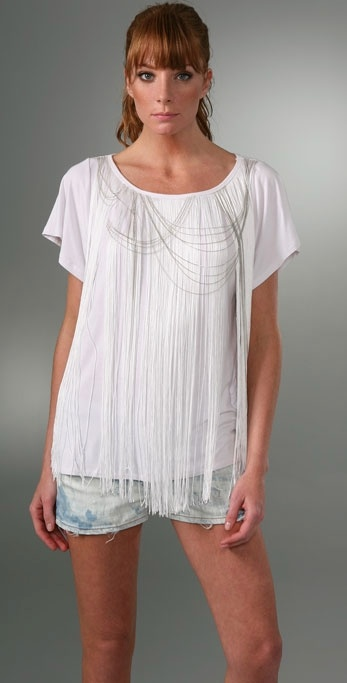 LaROK LUXE Off Shoulder Fringe T-Shirt