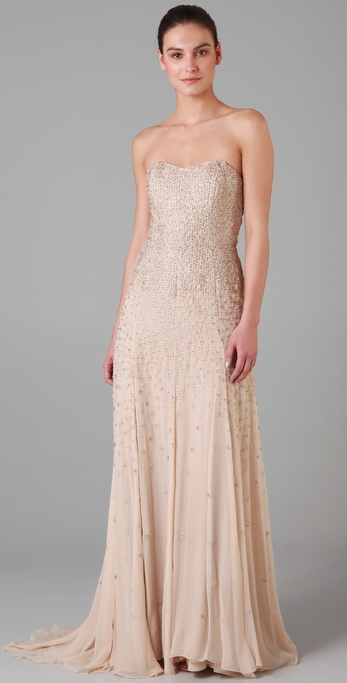 Lela Rose Strapless Gown with Crystals