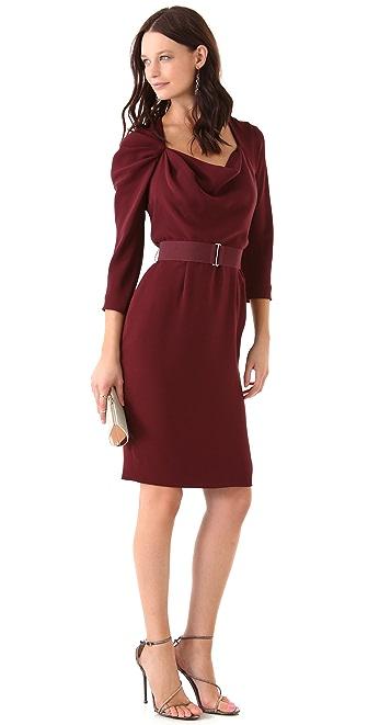 Lela Rose Long Sleeve Cowl Front Dress