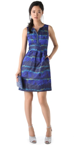 Lela Rose Zip Front Classic Sheath Dress