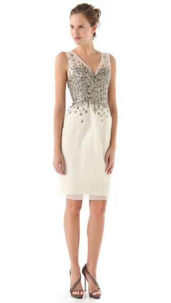 Lela Rose Beaded Embroidery Dress