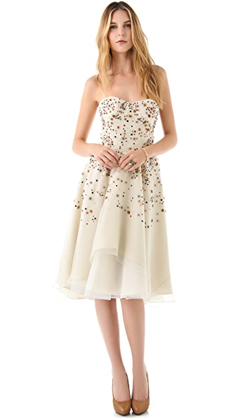 Lela Rose Embroidered Strapless Dress