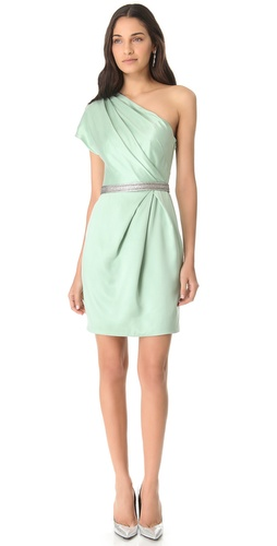 Lela Rose One Shoulder Draped Dress