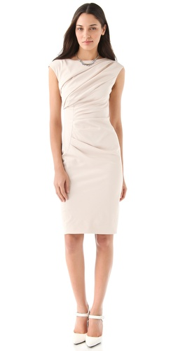 Lela Rose Draped Boat Neck Dress