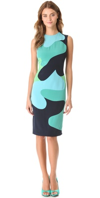 Lela Rose Colorblock Camouflage Dress
