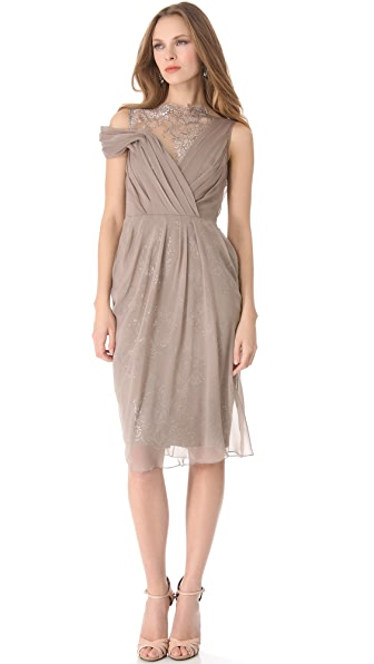 Lela Rose Draped Off Shoulder Dress