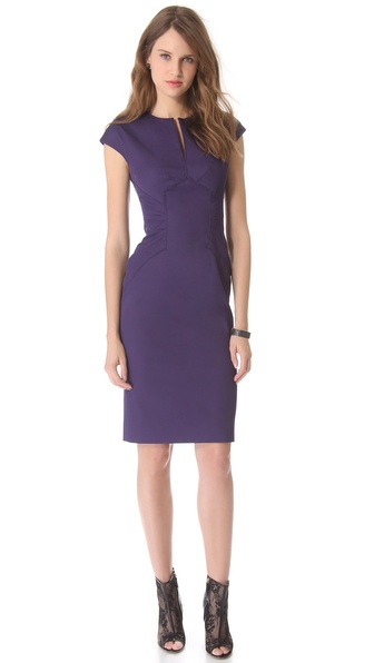Lela Rose Slit Front Dress with Seaming Detail