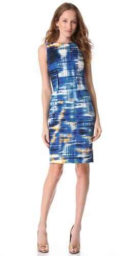 Lela Rose Boat Neck Dress with Pintuck