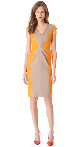 Lela Rose V Neck Dress