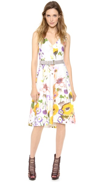 Lela Rose Sleeveless V Neck Dress