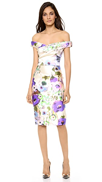 Lela Rose Floral Off Shoulder Dress