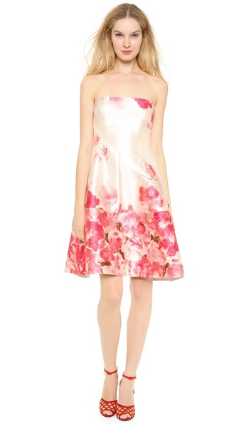 Lela Rose Seamed Strapless Dress