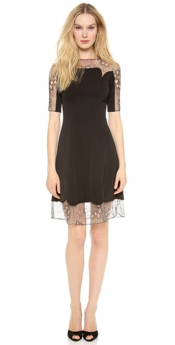 Lela Rose 3/4 Sleeve Lace Trim Dress