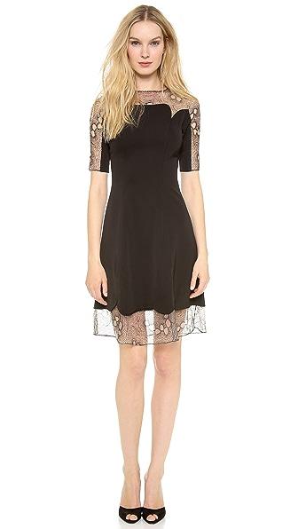 Lela Rose 3/4 Sleeve Lace Trim Dress