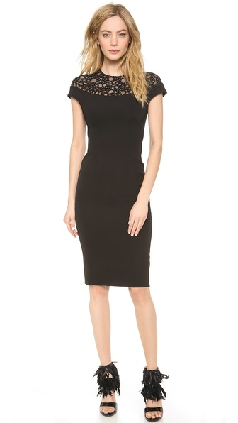 Lela Rose Beaded Yoke Sheath Dress
