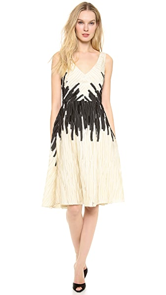 Lela Rose V Neck Dress with Full Skirt