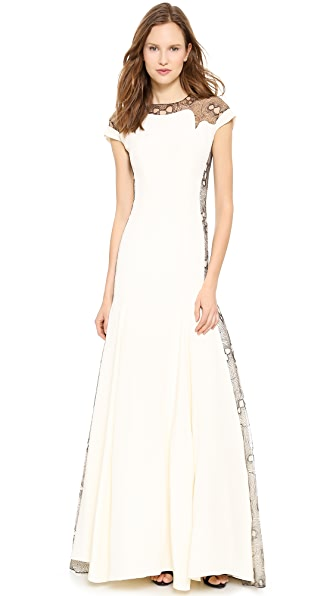 Lela Rose Lace Back Mermaid Gown