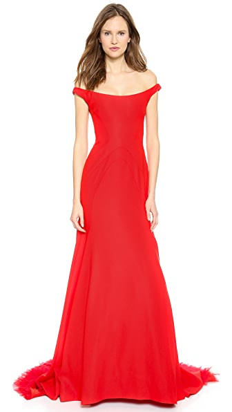 Lela Rose Off the Shoulder Gown