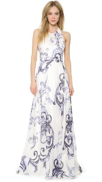 Lela Rose Printed Voile Halter Gown