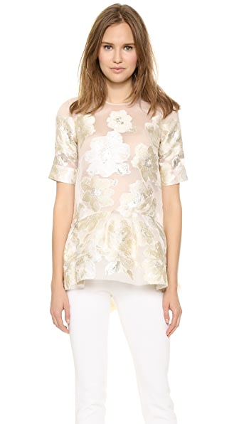Lela Rose Short Sleeve Blouse with Peplum