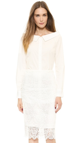Lela Rose Off Shoulder Shirt