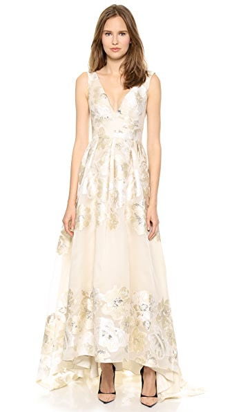 Lela Rose Deep V Neck Gown with Full Skirt