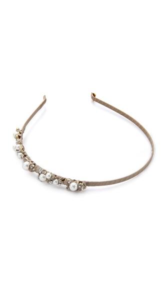 LELET NY Mindy Glass Pearl & Silk Headband