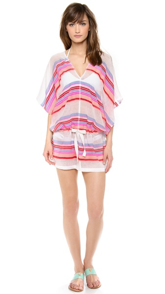 Shop Lemlem online and buy Lemlem Zema Cover Up Dress Pink - A relaxed Lemlem cover up dress in a bold stripe. Casual V neckline and drawstring waist. Unlined. Sheer. Fabric: Plain weave. 85% cotton/15% acrylic. Hand wash. Imported, Ethiopia. MEASUREMENTS Length: 35in / 89cm, from shoulder. Available sizes: S