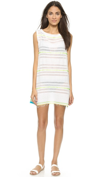 Shop Lemlem online and buy Lemlem Shoka Panel Dress Neon Yellow swimwear online