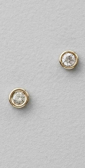 Lena Wald Bezel Diamond Stud Earrings