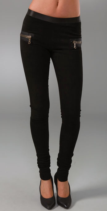 Les Chiffoniers Zip Pocket Suede Leggings