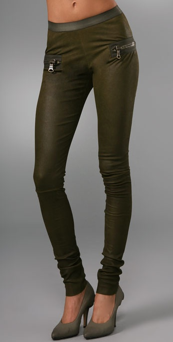 Les Chiffoniers Zip Pocket Wax Leather Leggings