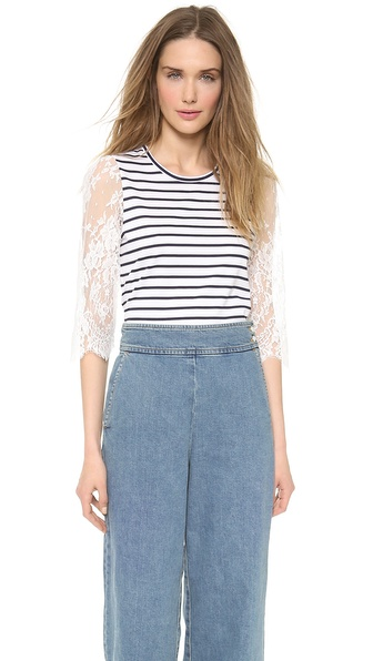 Leur Logette Stripe Lace Sleeve Top