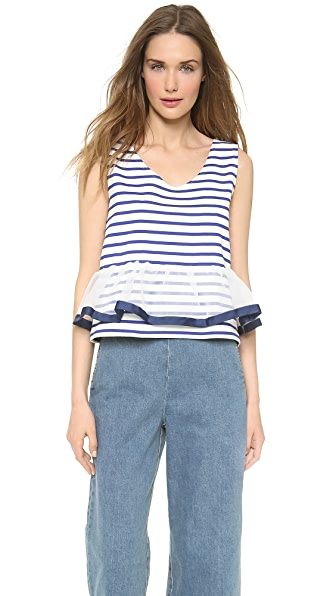 Leur Logette Stripe Tank Top with Tulle Hem