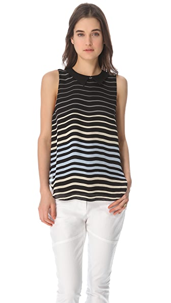 L'AGENCE Sleeveless Striped Blouse