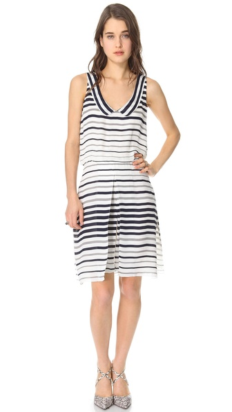 L'AGENCE Sleeveless Dress with Flutter Collar