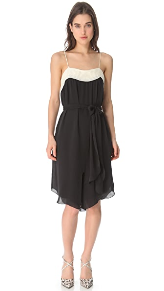 L'AGENCE Two Tone Pintuck Dress