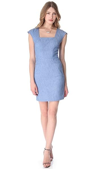 L'AGENCE Square Neck Pocket Dress