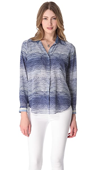L'AGENCE Long Sleeve Pocket Blouse