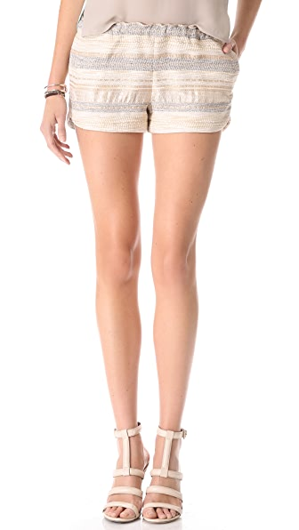 L'AGENCE Tweed Track Shorts