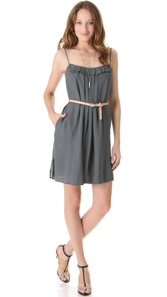 L'AGENCE Tank Dress with Pleated Neckline