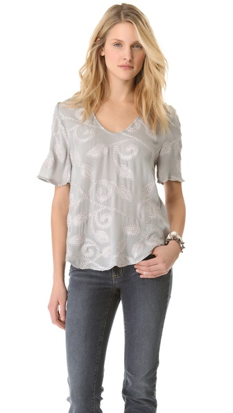 L'AGENCE Embroidered Blouse