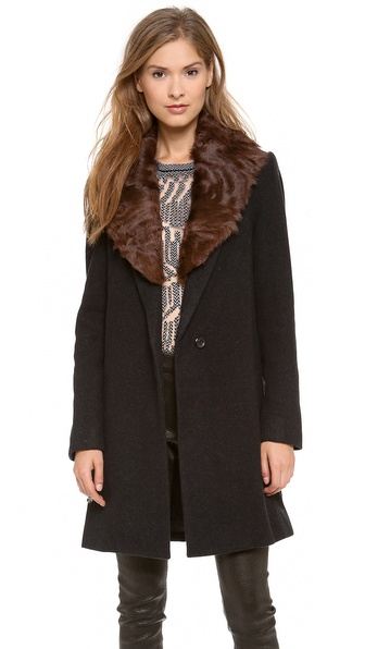 L'AGENCE Gentleman's Coat with Removable Fur Collar