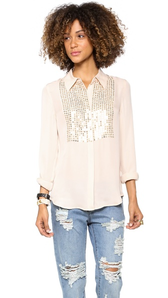 L'AGENCE Armor Beaded Blouse