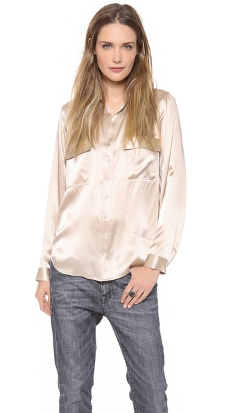 L'AGENCE Long Sleeve Two Pocket Blouse