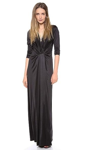 L'AGENCE Long Sleeve Deep V Dress