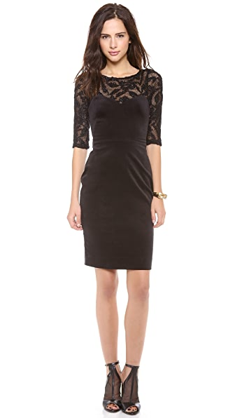 L'AGENCE Velvet Dress with Knitted Mesh Detail