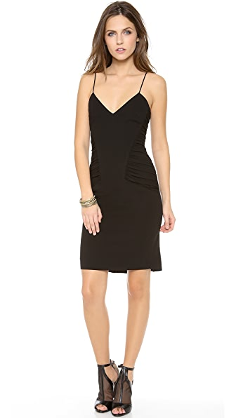 L'AGENCE Spaghetti Strap Ruched Dress