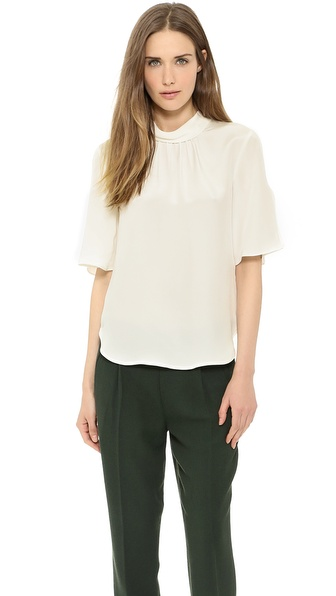 L'AGENCE Rolled Neck Flutter Sleeve Blouse