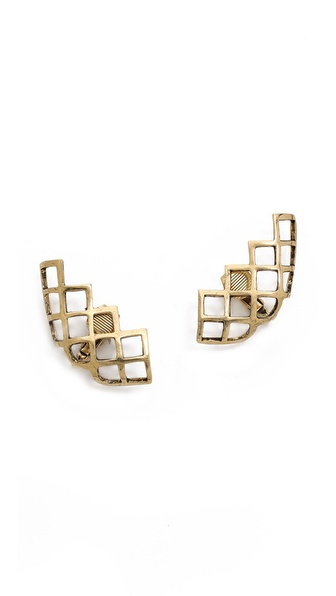 Lady Grey Lattice Lobe Clip On Earrings
